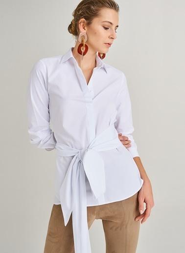 People By Fabrika Kuşak Detaylı Gömlek Beyaz